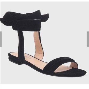 NWT Who What Wear Black velvet ankle tie sandals